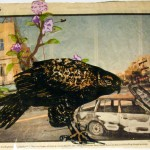 Hawk's Lust: Baghdad, 2008. Polyester lithograph on Gampi chine collé mounted on news paper: 12 x 10 inches.