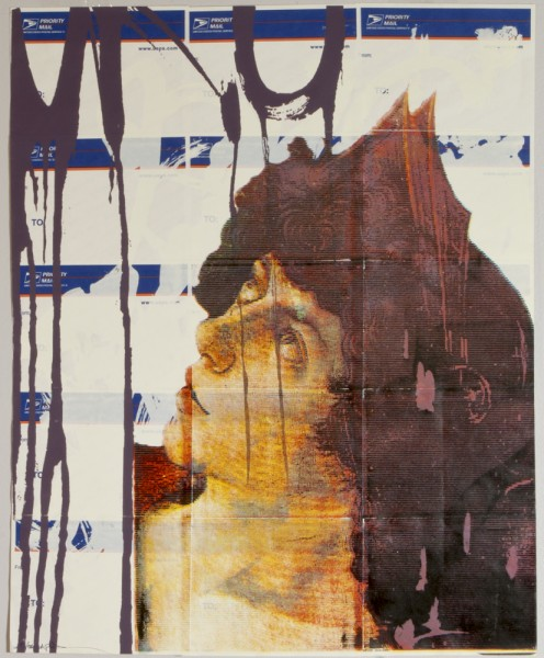 Untitled, 2006. Six layer silkscreen on postal stickers, 15 x 20 inches.
